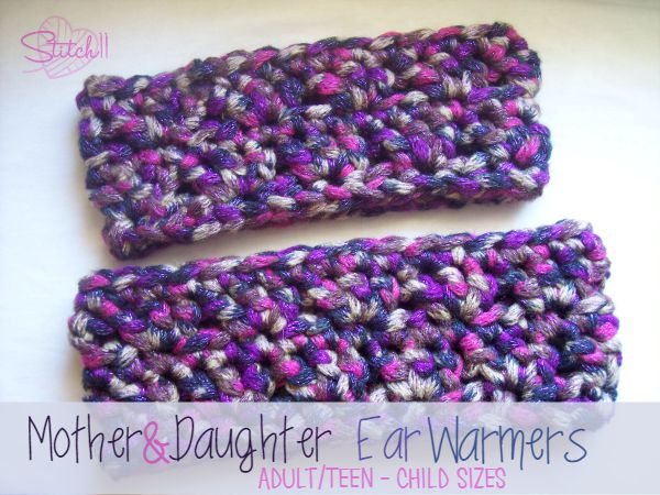 Free Crochet Ear Warmer Patterns For Adults : Mother & Daughter Ear Warmers ~ FREE Crochet Pattern