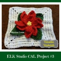 Poinsettia Washcloth ~ American Crochet – ELK Studio