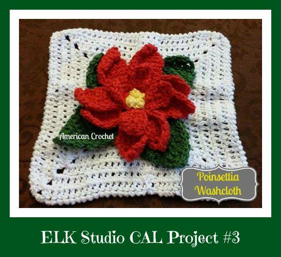 Poinsettia Washcloth ~ American Crochet - ELK Studio