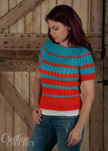 Ribbed Shell Tee Adult Sizes Small Through XXL ~ Cre8tion Crochet