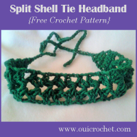 Split Shell Tie Headband ~ Oui Crochet