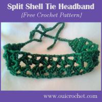 Split Shell Tie Headband ~ Oui Crochet