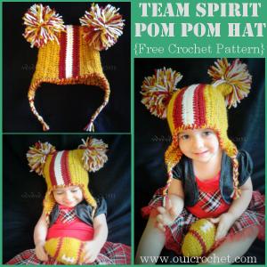 Team Spirit Pom Pom Hat ~ Oui Crochet