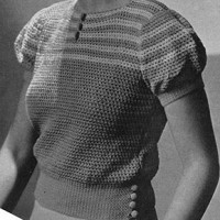 Stroked Yoke Blouse #7 ~ Free Vintage Crochet