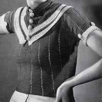 Parisian Striped Blouse ~ Free Vintage Crochet