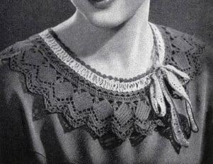 Green Collar with Ecru Trim ~ Free Vintage Crochet