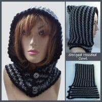 Striped Hooded Cowl ~ Rhelena - CrochetN'Crafts