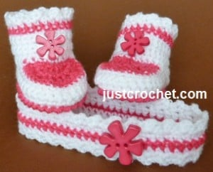 Headband and Booties ~ JustCrochet