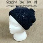Slouchy Pom Pom Hat ~ Cream Of The Crop Crochet