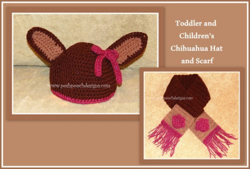 Free Crochet Patterns For Childrens Hats And Scarves : Childrens Chihuahua Hat and Scarf ~ FREE Crochet Pattern