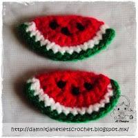 Watermelon Wedge Applique ~ Damn it Janet, Let's Crochet