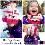 Floating Hearts Convertible Beanie ~ Sonya Blackstone - Cre8tion Crochet