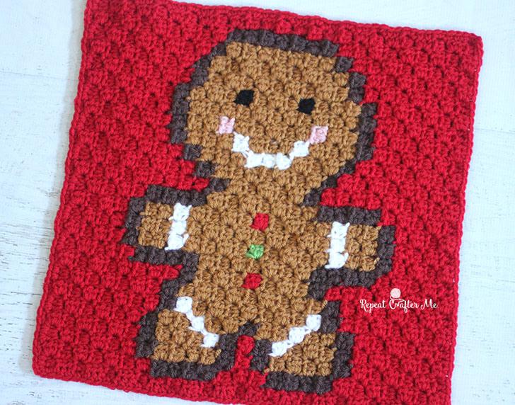 Gingerbread Man Pixel Square