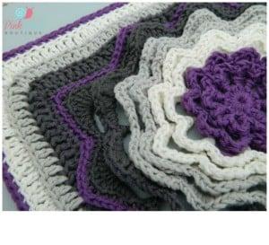 Spinning Deca-Petal Flower Tile Granny Square ~ Lisa Egan - Cre8tion Crochet.