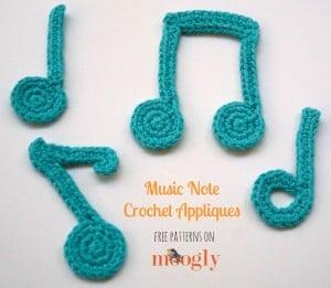 Music Note Crochet Applique ~ Moogly