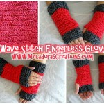 Wave Stitch Finger Less Gloves ~ Meladora's Creations