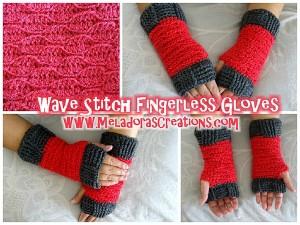 Wave Stitch Finger Less Gloves ~ Meladora's Creations