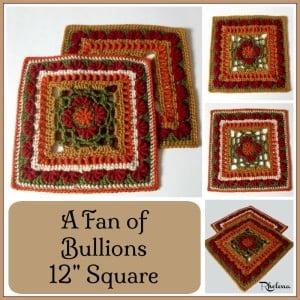"A Fan of Bullions 12"" Square ~ Rhelena - CrochetN'Crafts"