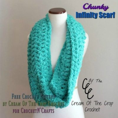 Chunky Infinity Scarf by Cream Of The Crop Crochet for CrochetN'Crafts