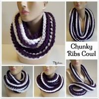 Chunky Ribs Cowl ~ Rhelena - CrochetN'Crafts