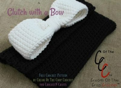 Clutch With a Bow ~ FREE Crochet Pattern by Cream Of The Crop Crochet for CrochetN'Crafts