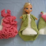"Trio of Dresses for 7"" Size Doll ~ Donna's Crochet Designs"