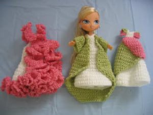 """Trio of Dresses for 7"""" Size Doll ~ Donna's Crochet Designs"""