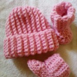 Ribbed Baby Beanie and Booties ~ Dee Ann H – Joyful In Tribulation