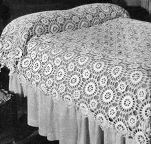 Star Wheel Bedspread #200 ~ Free Vintage Crochet