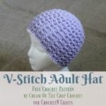 V Stitch Adult Hat by Cream Of The Crop Crochet for CrochetN'Crafts