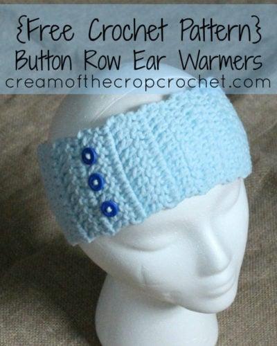 Button Row Ear Warmers Free Crochet Pattern