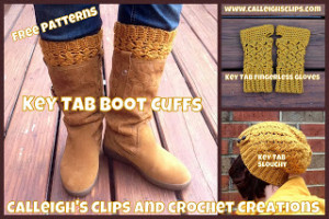 Key Tab Boot Cuffs ~ Elisabeth Spivey - Calleigh's Clips & Crochet Creations