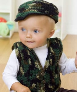 Vest and Hat ~ Karla Hastings - Baby's Gone Hunting - Red Heart