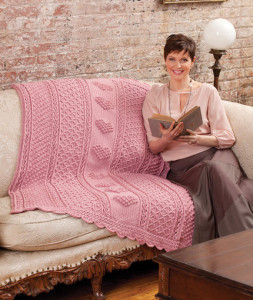 Aran Hearts Throw ~ Bonnie Barker - Red Heart