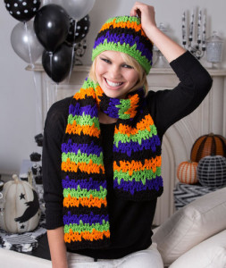 Jittery Stripes Hat & Scarf ~ Lorene Eppolite - Red Heart