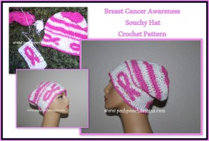 Breast Cancer Awareness Slouchy Hat ~ Sara Sach - Posh Pooch Designs