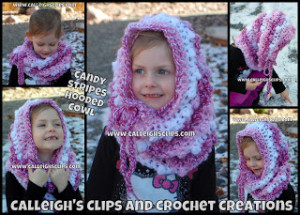 Candy Stripes Hooded Cowl ~ Elisabeth Spivey - Calleigh's Clips & Crochet Creations