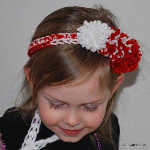 Peppermint Pom Pom Headband ~ Elisabeth Spivey - Calleigh's Clips & Crochet Creations