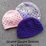 Granny Square Beanie in 3 Baby Sizes ~ EyeLoveKnots