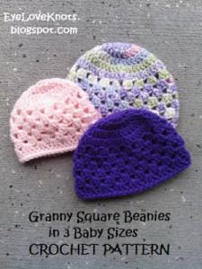 Granny Square Beanie in 3 Baby Sizes ~ EyeLoveKnots