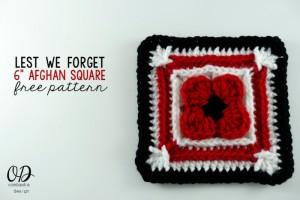 "Lest We Forget - 6"" Afghan Square ~ Oombawka Design"