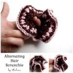 Alternating Hair Scrunchie ~ Rhelena - CrochetN'Crafts