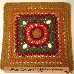 """Picot Flower 12"""" Afghan Square ~ CrochetN'Crafts"""