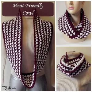 Picot Friendly Cowl ~ Rhelena - CrochetN'Crafts