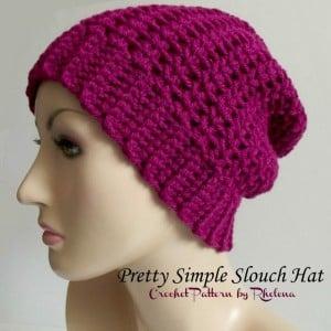 Pretty Simple Slouch Hat ~ Rhelena - CrochetN'Crafts
