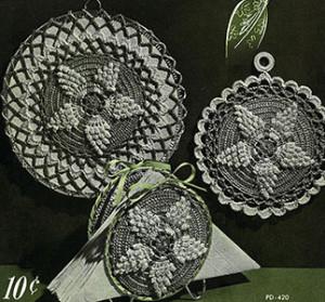 Pineapple Popcorns Pot Holder & Hot Plate Mat ~ Free Vintage Crochet