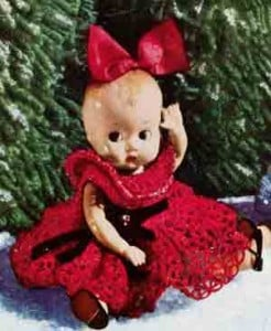 Christmas Doll with Red Dress ~ Free Vintage Crochet