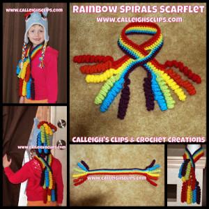 Rainbow Spirals Scarf-Let ~ Elisabeth Spivey - Calleigh's Clips & Crochet Creations