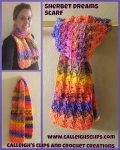 Sherbet Dreams Scarf ~ Elisabeth Spivey - Calleigh's Clips & Crochet Creations