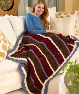 Chunky Shells & Stripes Throw ~ Katherine Eng - Red Heart
